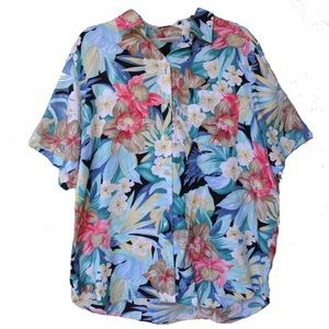 Alfred Dunner Button Up Floral Hawaiian Shirt